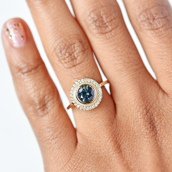 Selena Deep Blue Teal Sapphire Engagement Ring