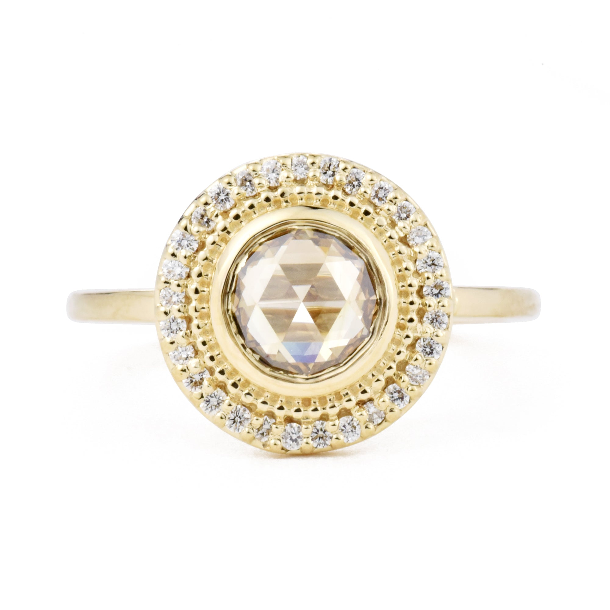 Reserved - Selena Champagne Rose Cut Diamond Ring