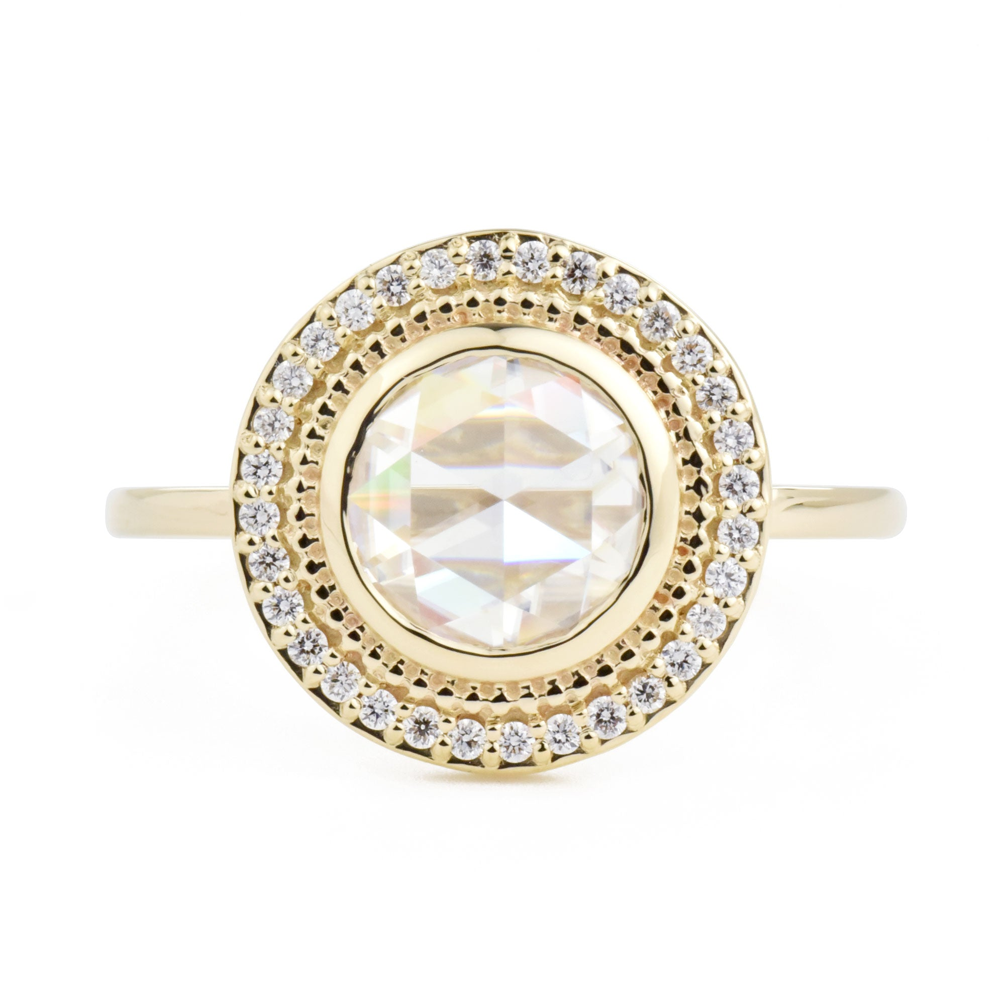 Selena Rose Cut Moissanite Halo Engagement Ring in yellow gold
