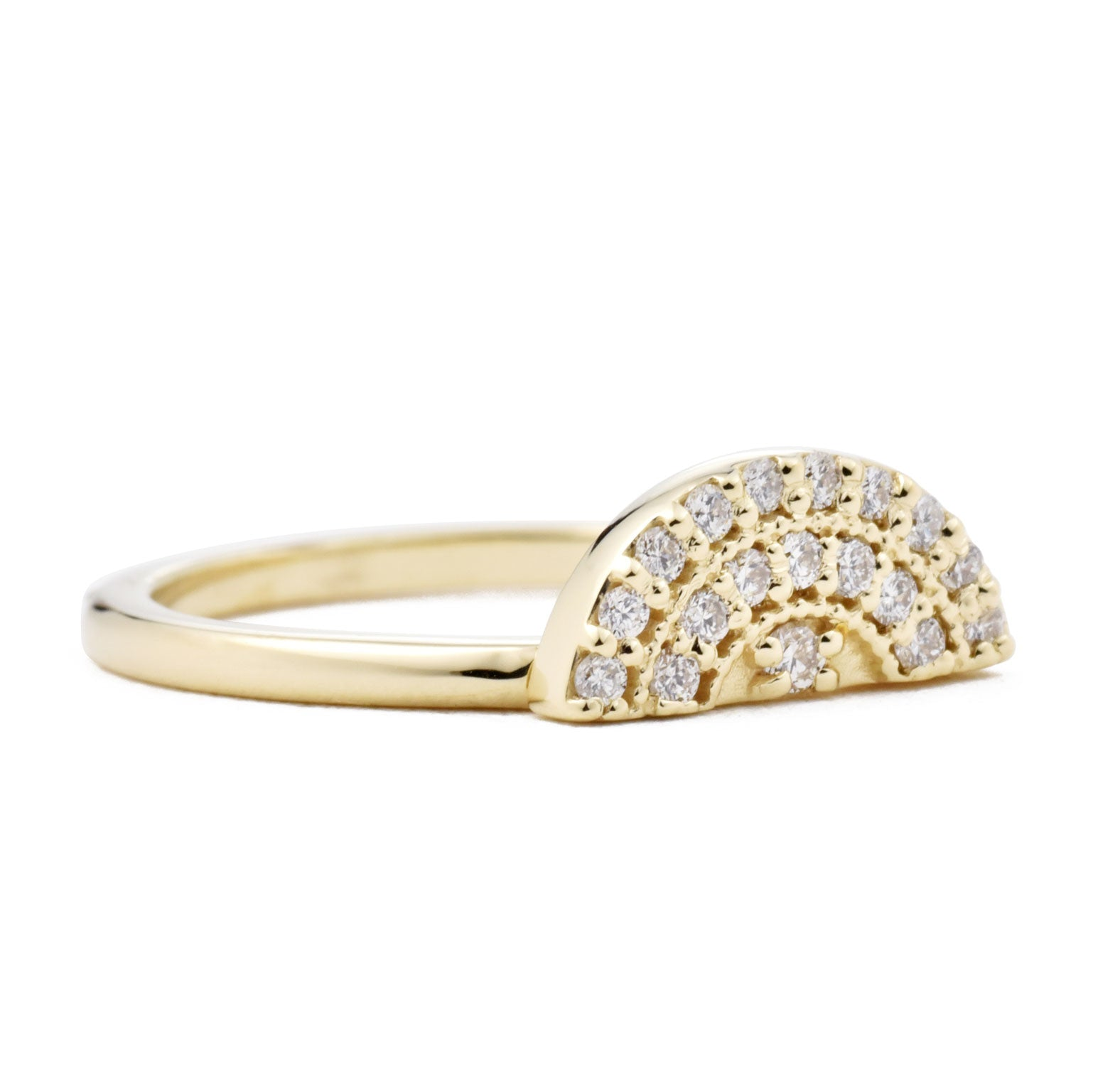 Half Moon Pavé Diamond Ring shown from the front