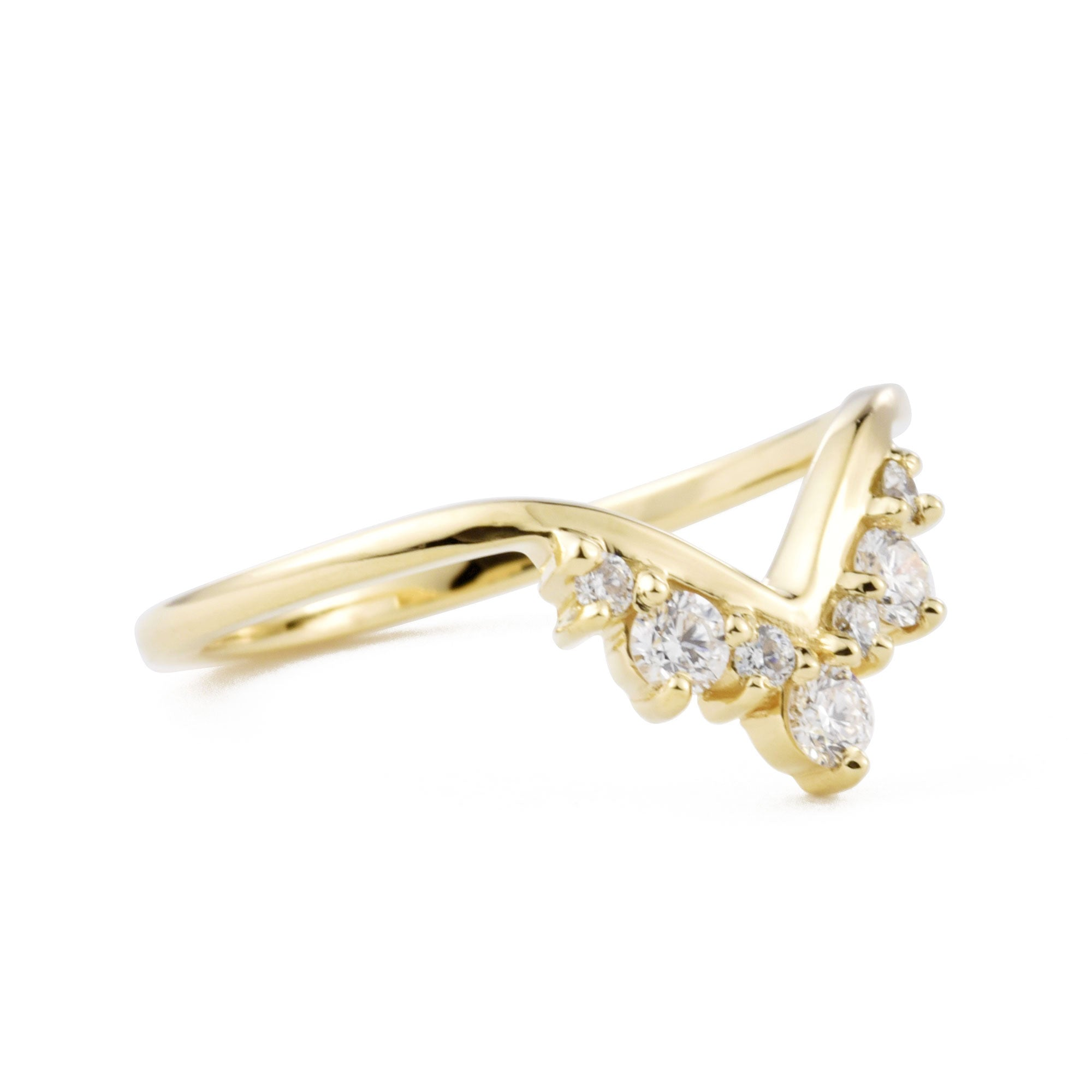 Tiara Diamond Nova Band shown from the front in yellow gold