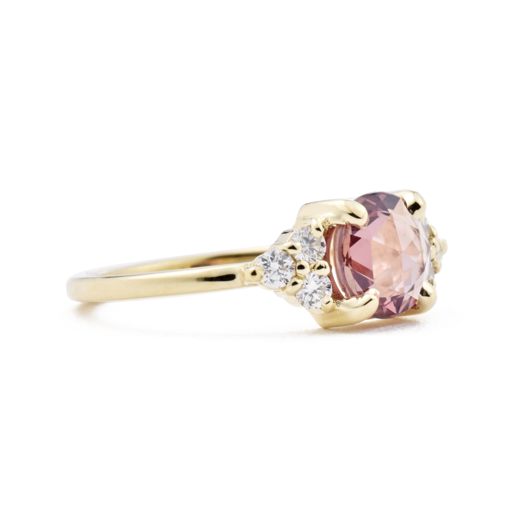 Bella Rose Cut Pink Sapphire & Diamond Cluster Engagement Ring