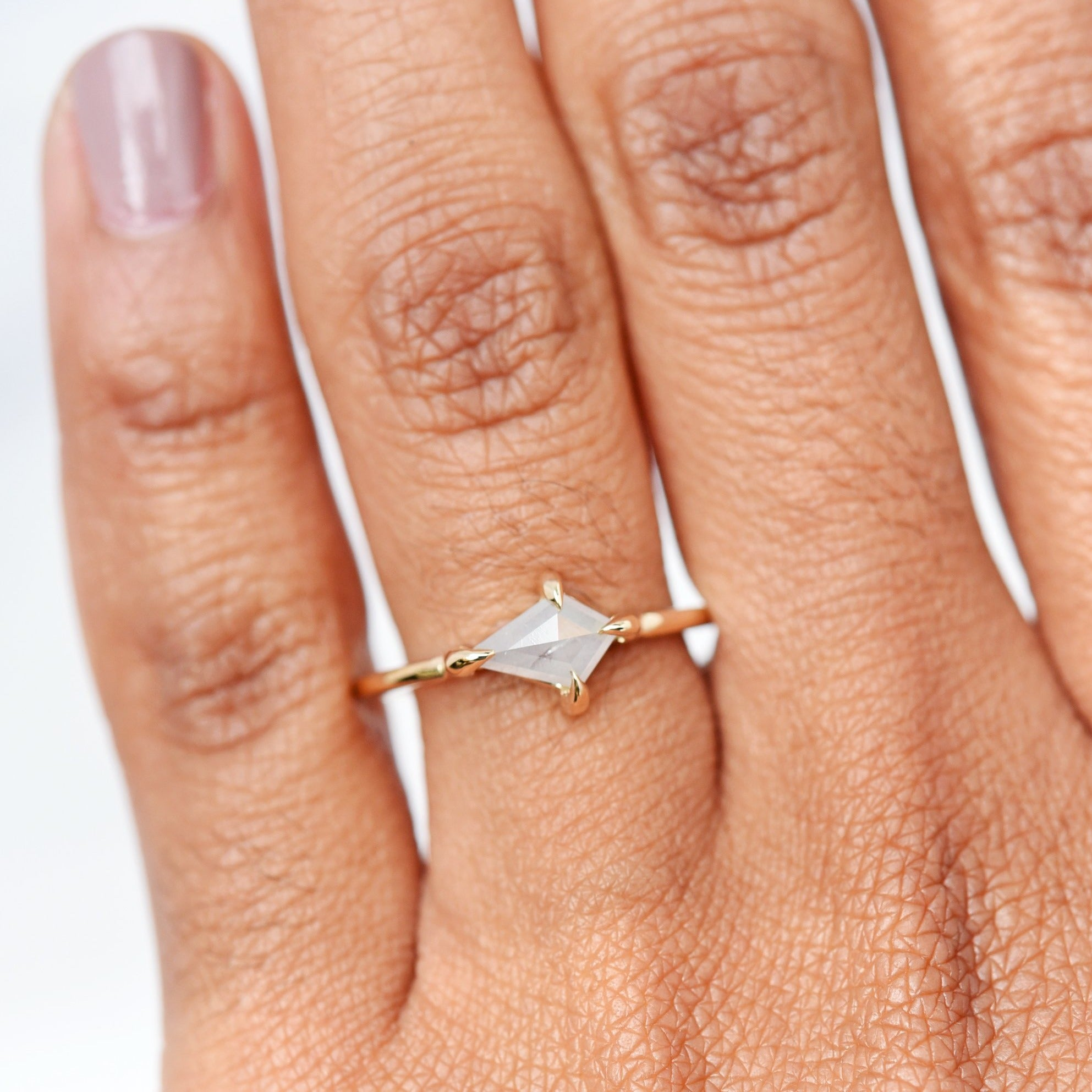 Product shot of the Eva Silver Kite Diamond Engagement Ring