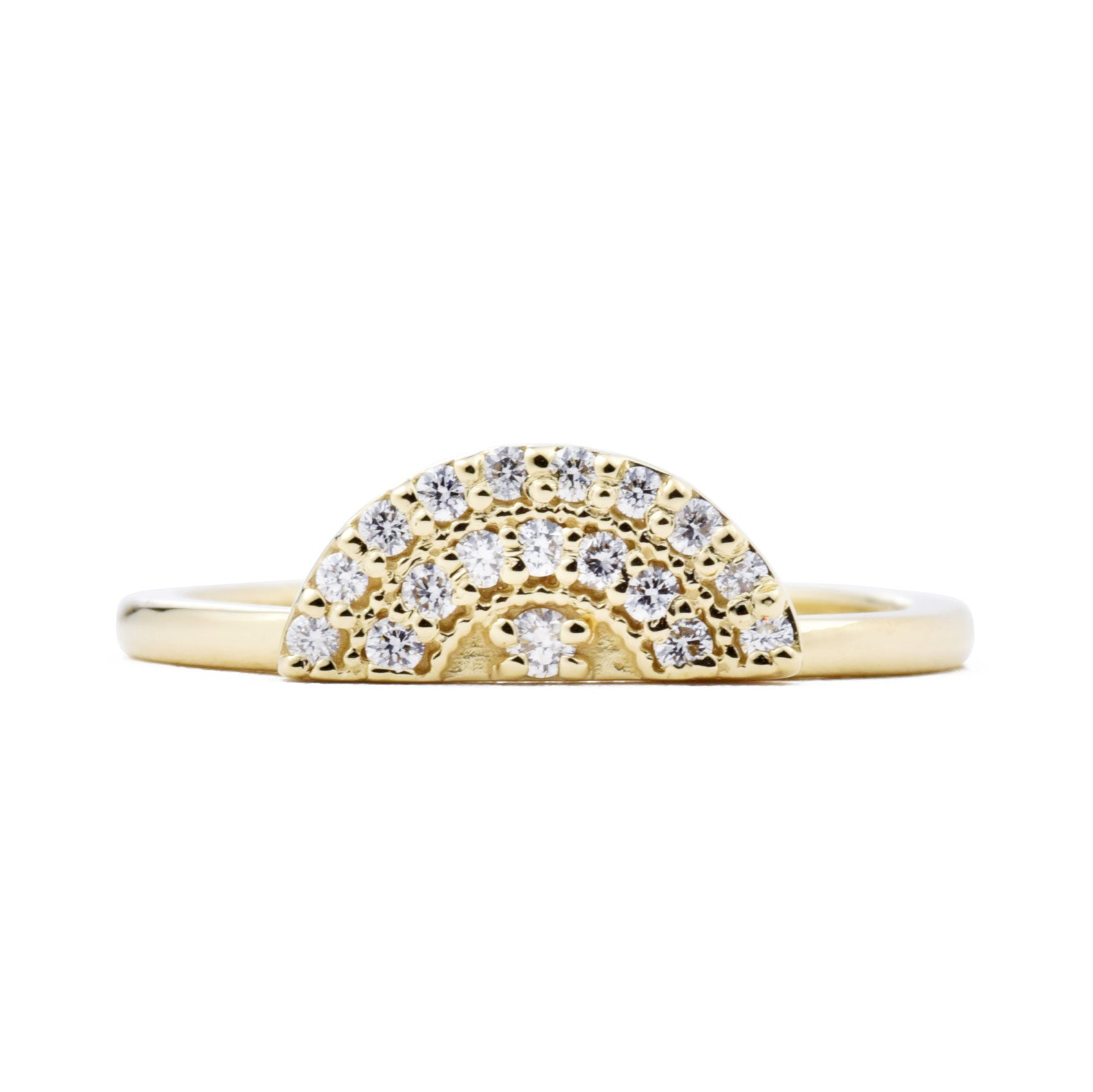 Sunrise Arc Diamond Ring in yellow gold