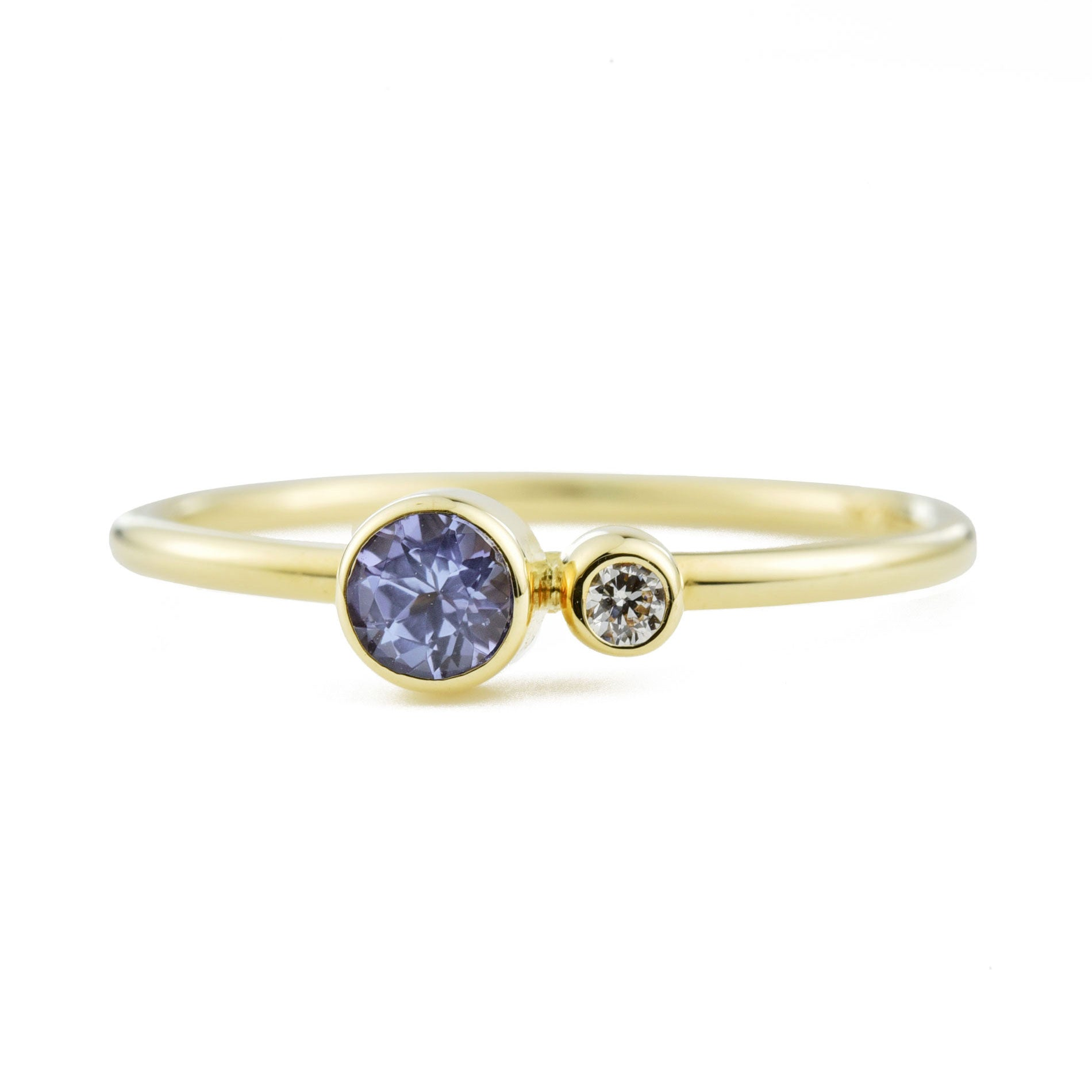 Tanzanite Diamond Kiss Ring
