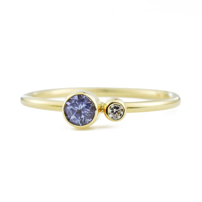 Tanzanite Diamond Kiss Ring - December Birthstone
