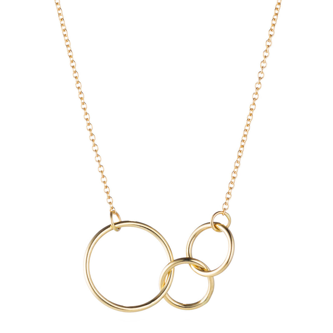 14K Gold Interlocking 3 Rings Necklace by Valerie Madison Jewelry mother and two children