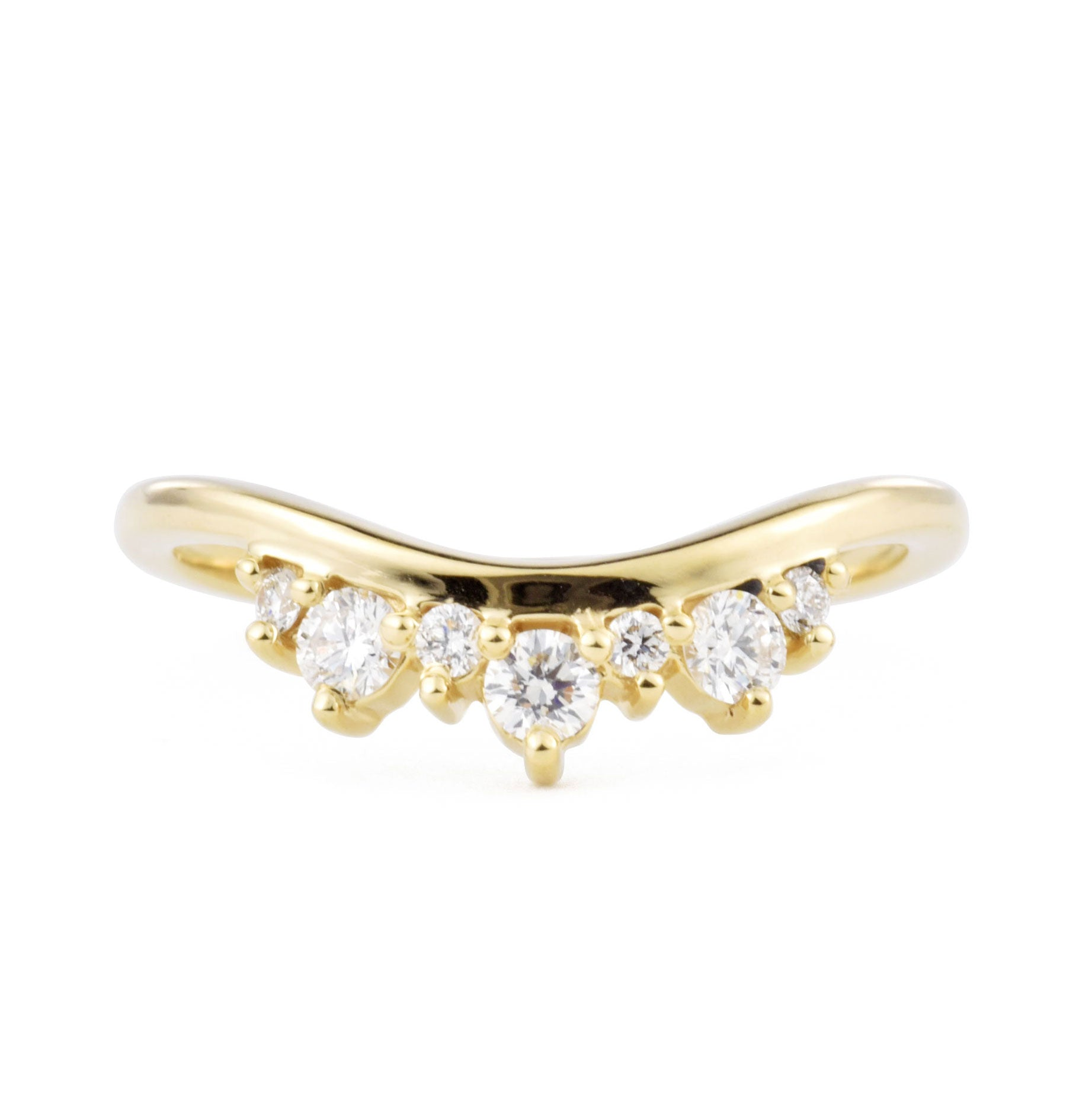 Tiara Diamond Wave Band shown from the front in yellow gold