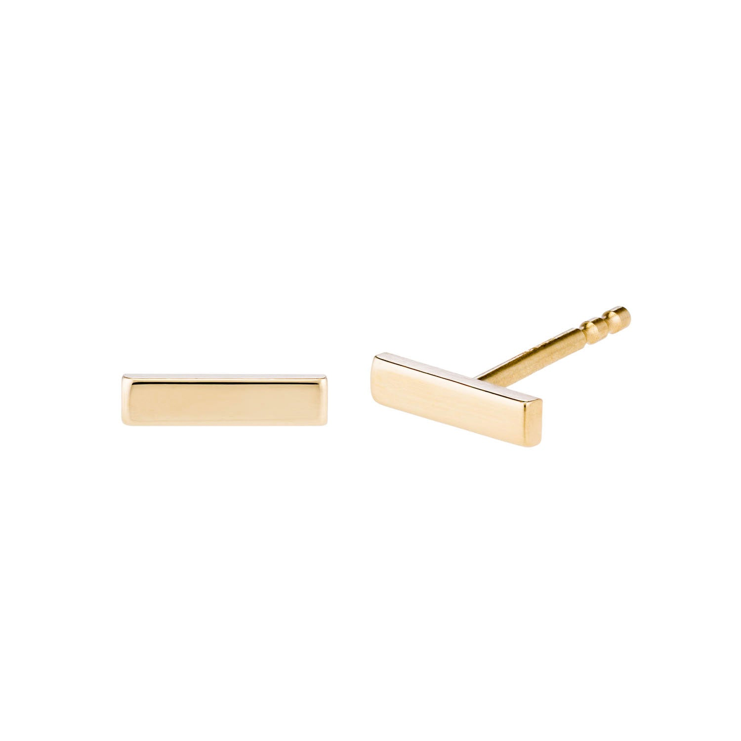 14k Yellow gold tiny bar studs by Valerie Madison