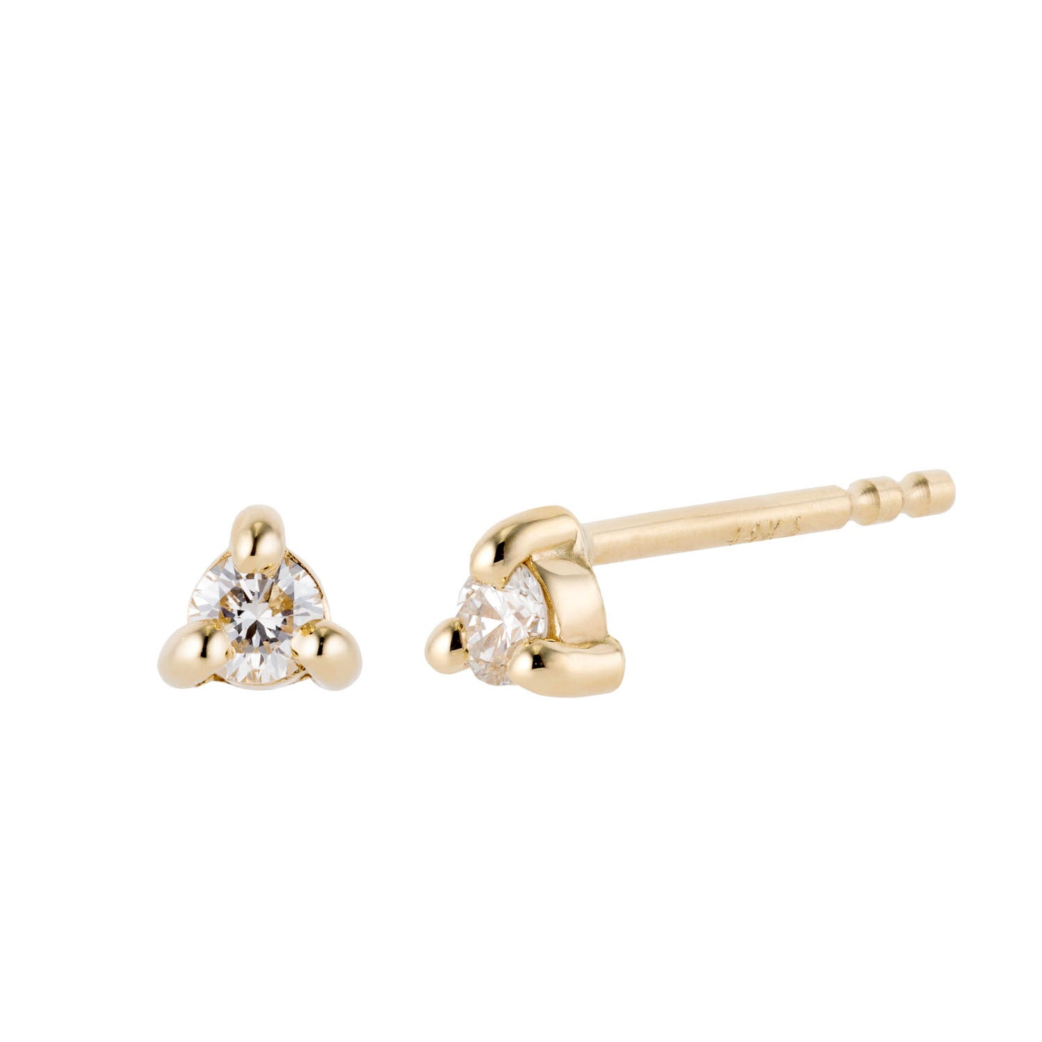 Tiny diamond stud earrings 14k yellow gold by Valerie Madison