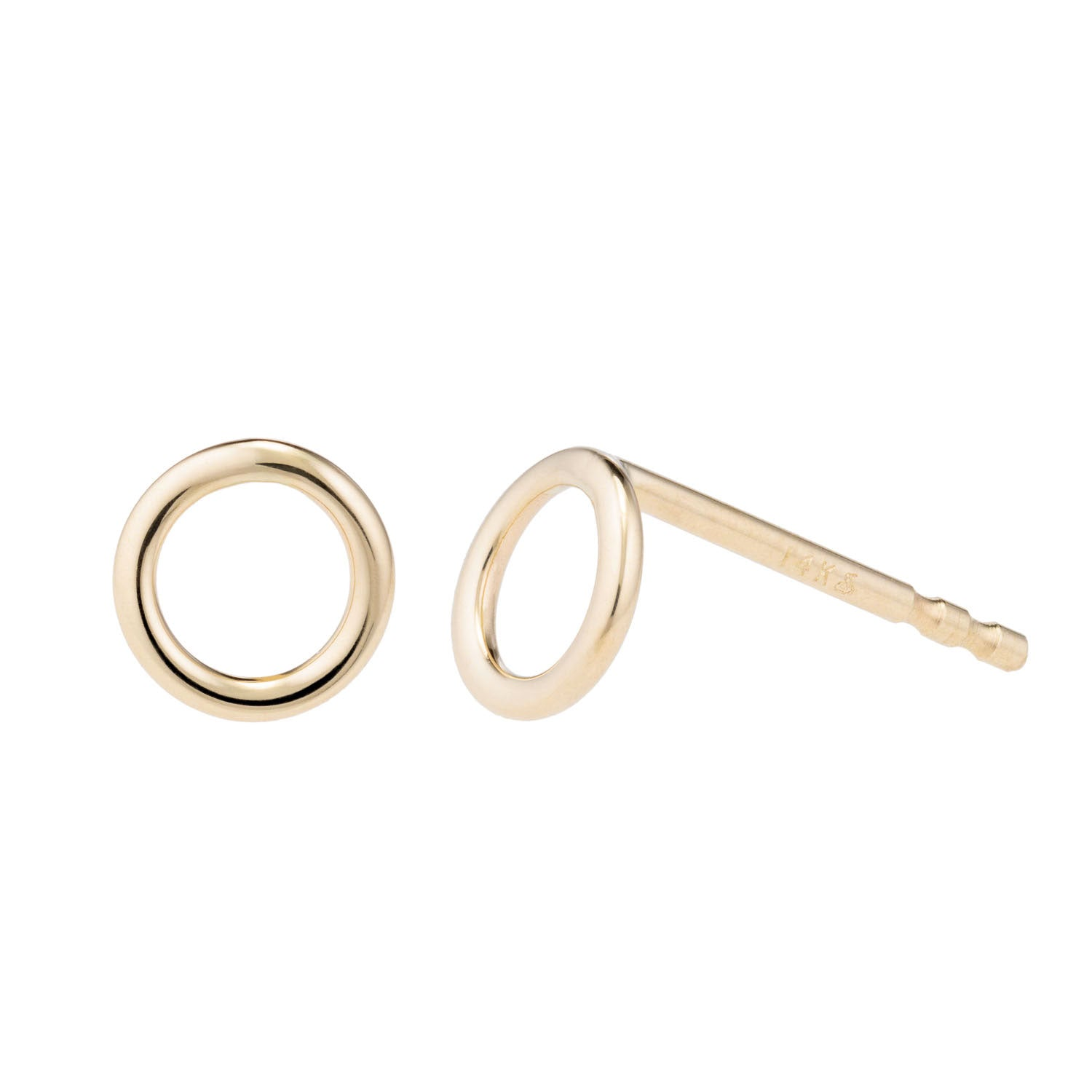 14k Yellow gold tiny circle shaped stud earrings - o - by Valerie Madison