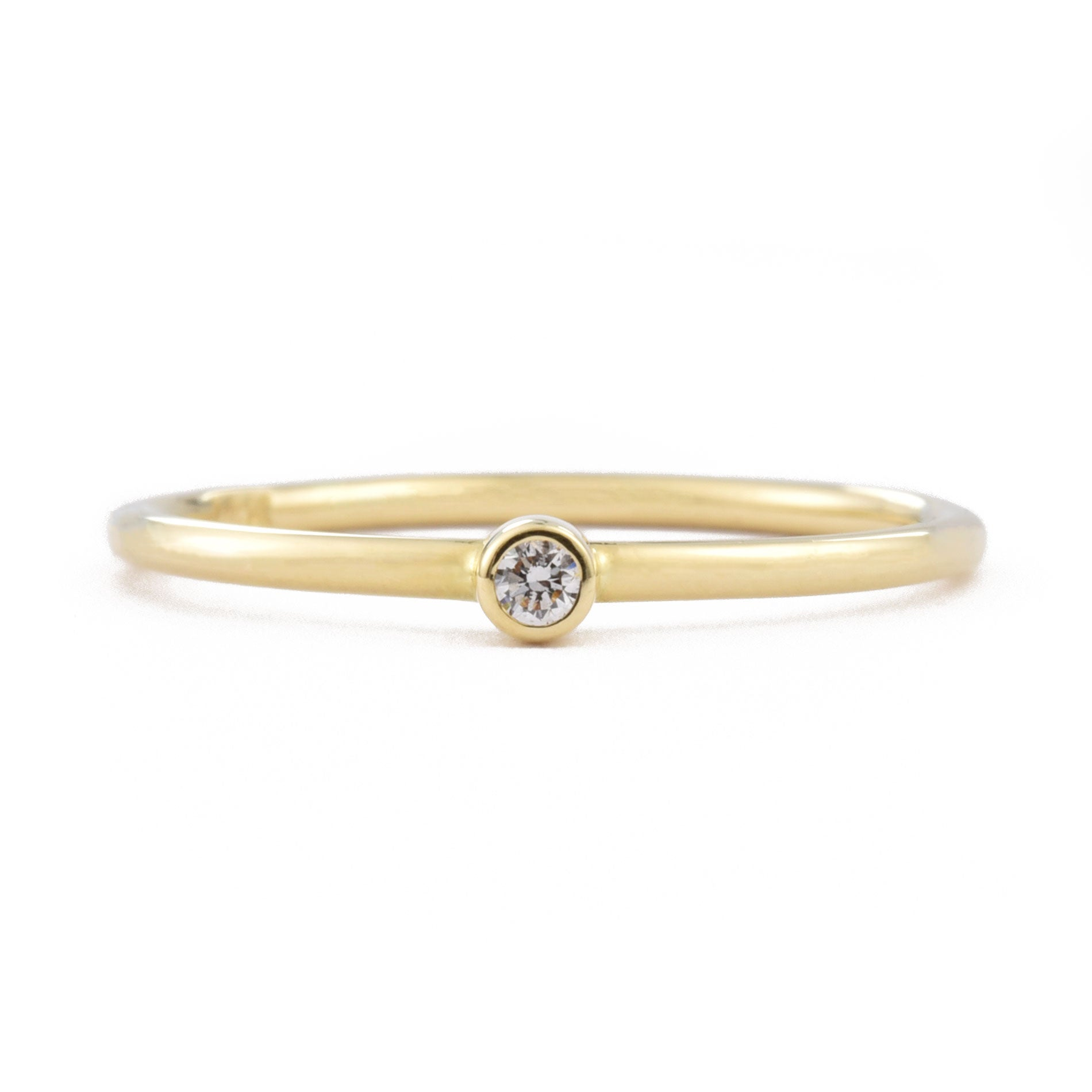 14K Gold Tiny Diamond Ring