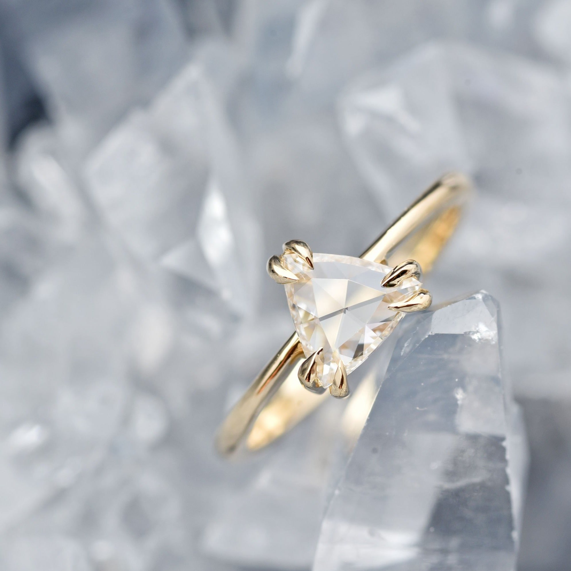 0.67ct Eva Colorless Trillion Diamond Engagement Ring in 14k Yellow Gold shown from the front