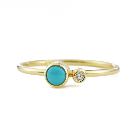 Turquoise Diamond Kiss Ring - December Birthstone