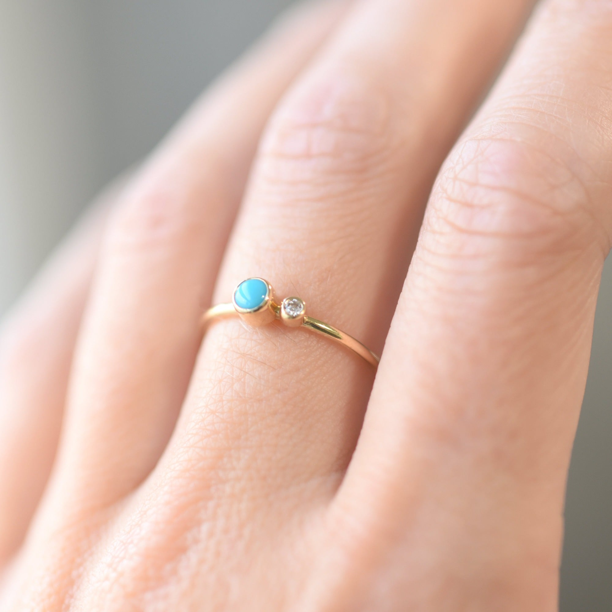 Turquoise Diamond Kiss Ring