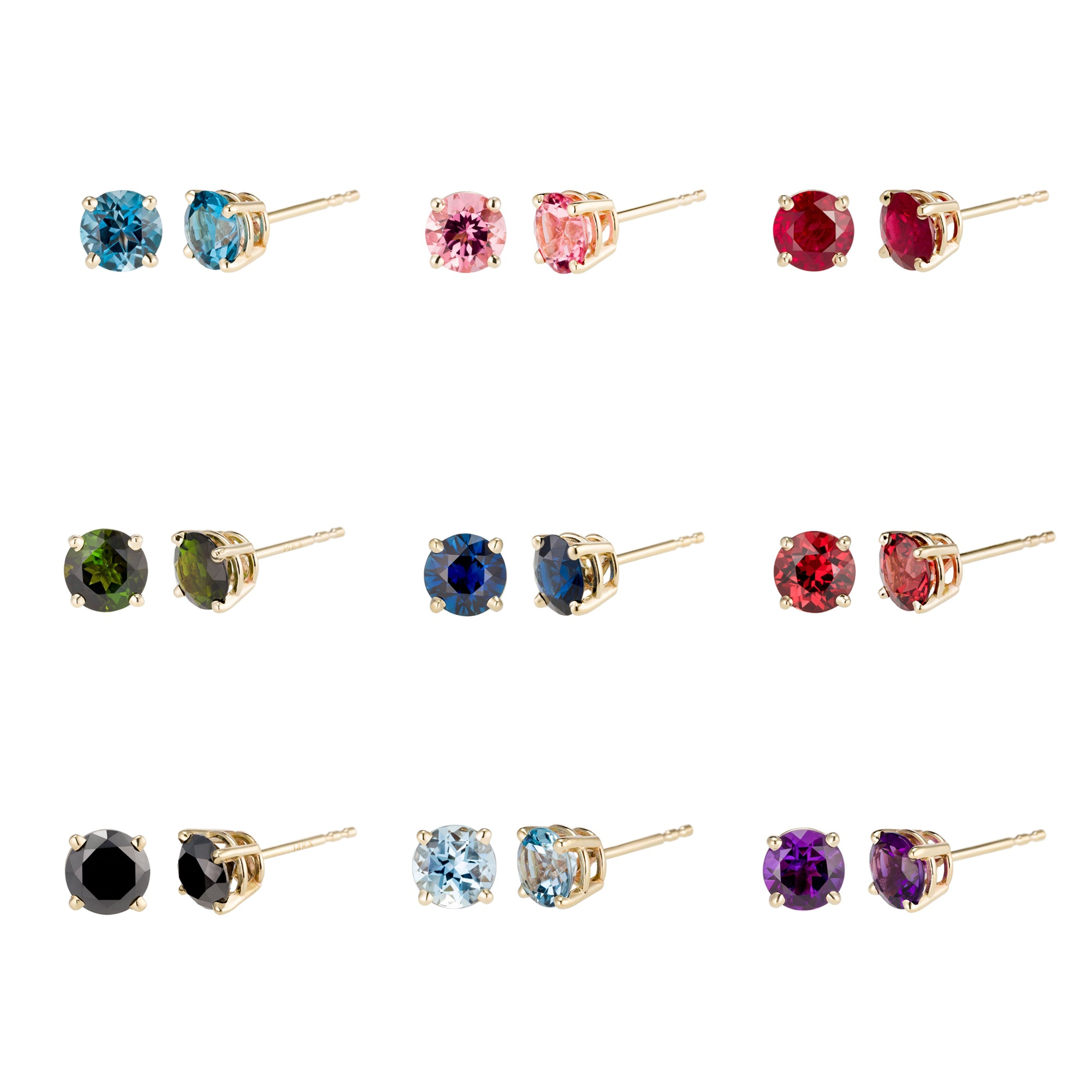 14K Large Gemstone Studs (5mm)