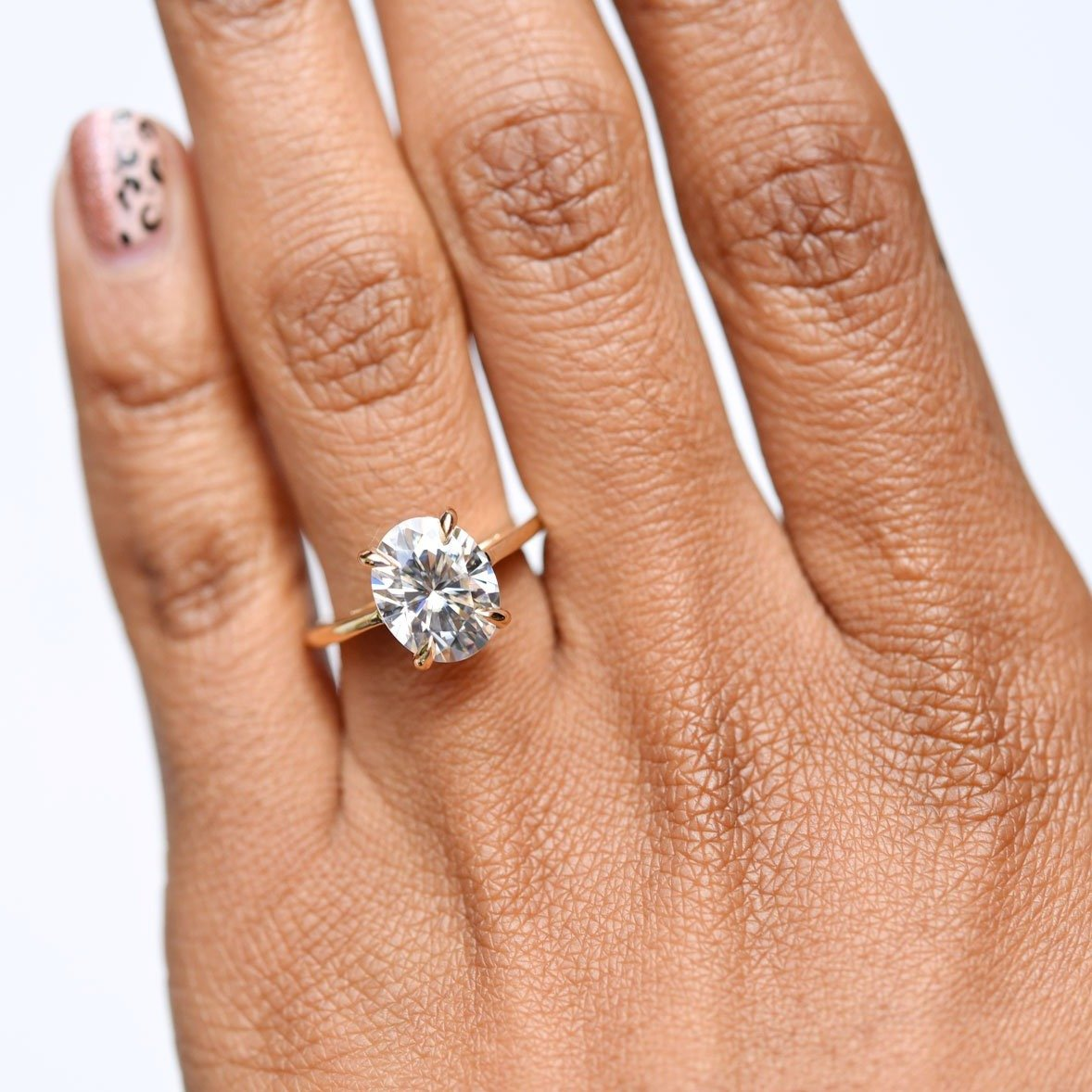 Ella Floating Oval 3ct Moissanite Solitaire Engagement Ring