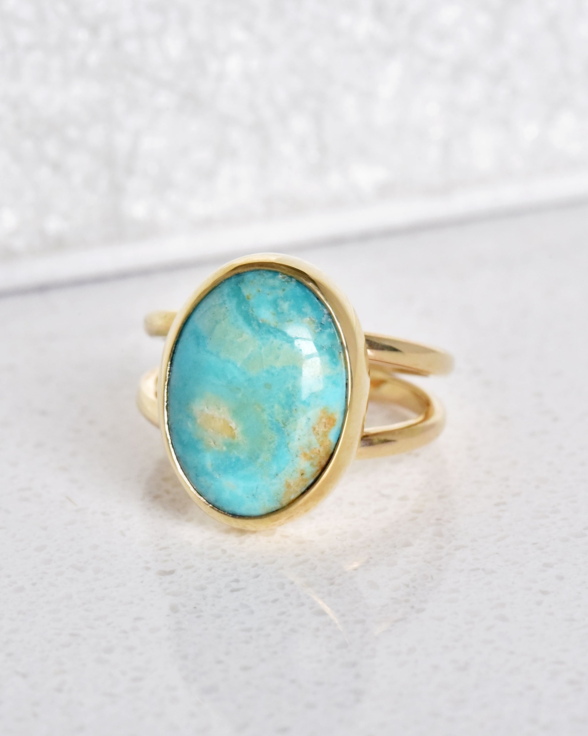 Mona Lisa Turquoise 14K Gold Ring (size 6.75)
