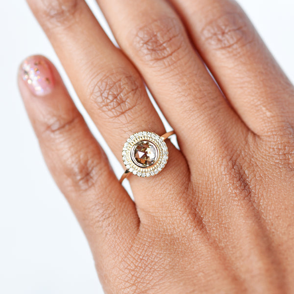 Selena Rose Cut Honey Brown Diamond Engagement Ring