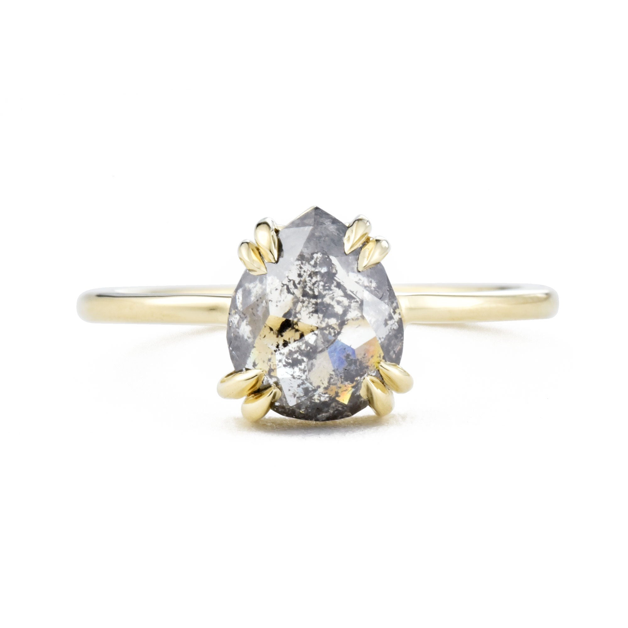 Eva Double Claw Salt & Pepper Pear Diamond Ring