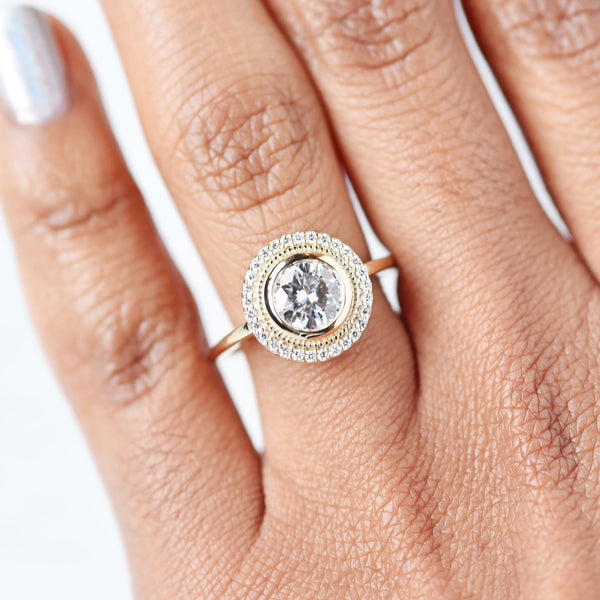 Selena 1ct Moissanite Halo Engagement Ring in yellow gold