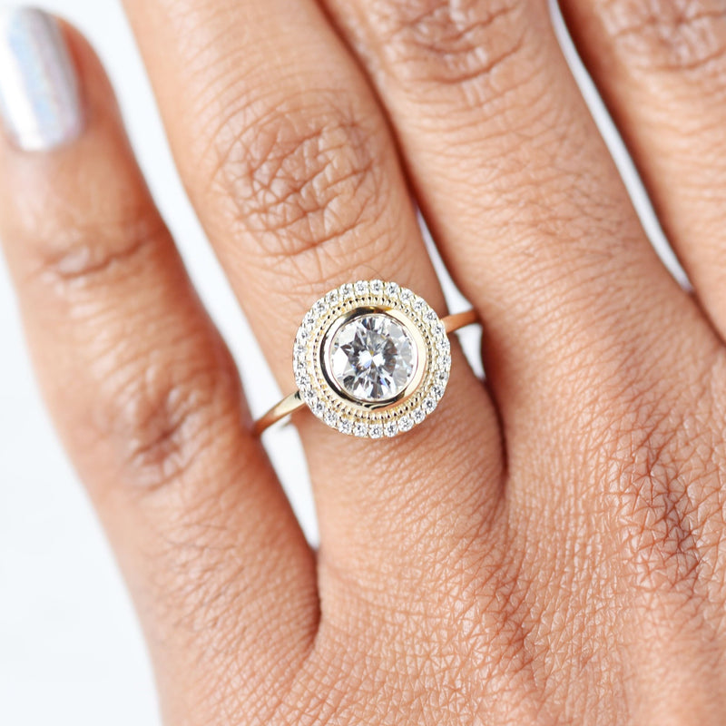 Selena 1ct Moissanite Halo Engagement Ring