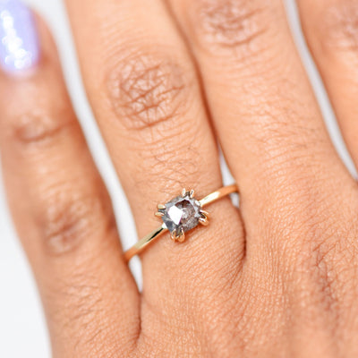Eva Double Claw Salt & Pepper Octagon Diamond Engagement Ring modeled on hand