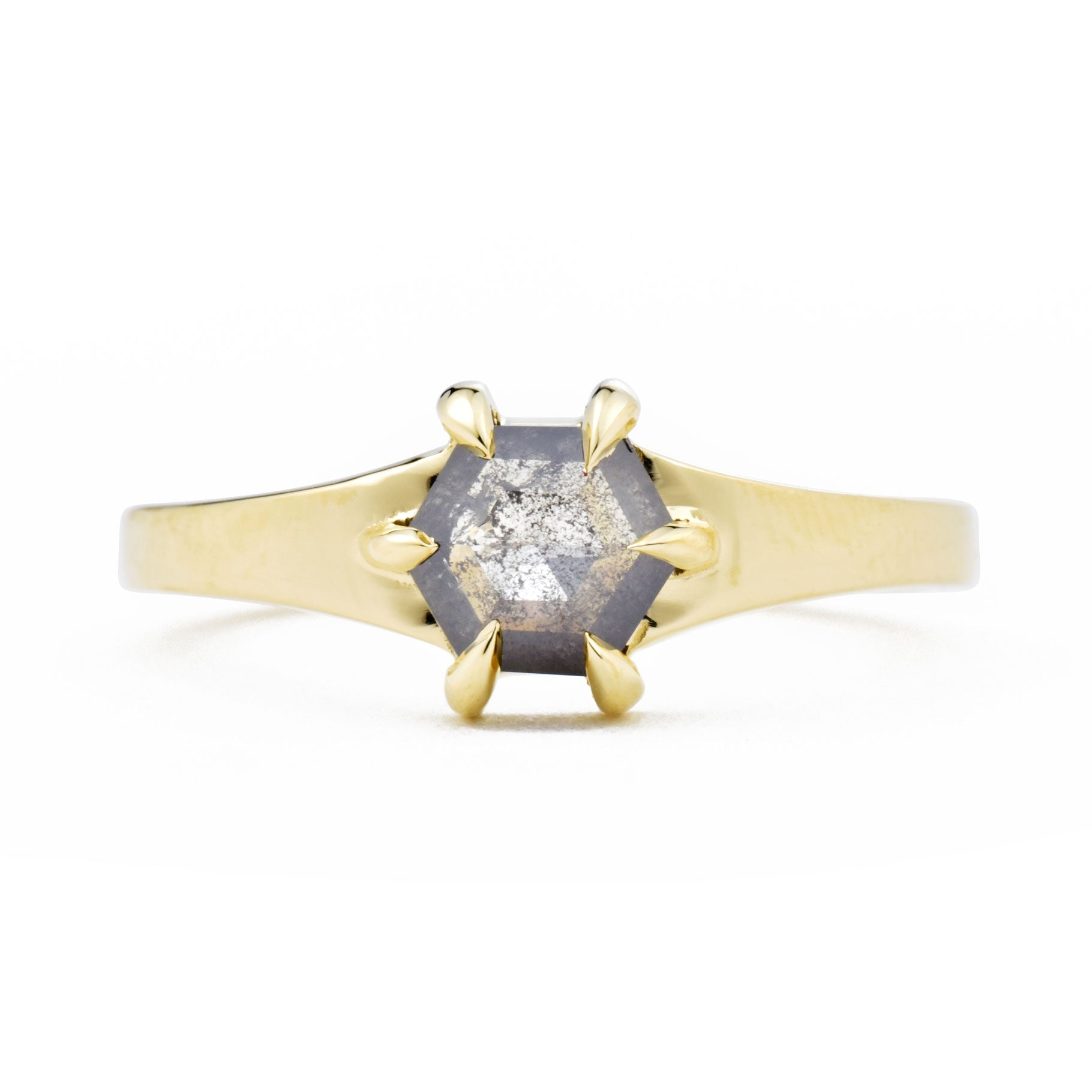 Product shot of the Astrid East-West S&P Hexagon Diamond Engagement Ring
