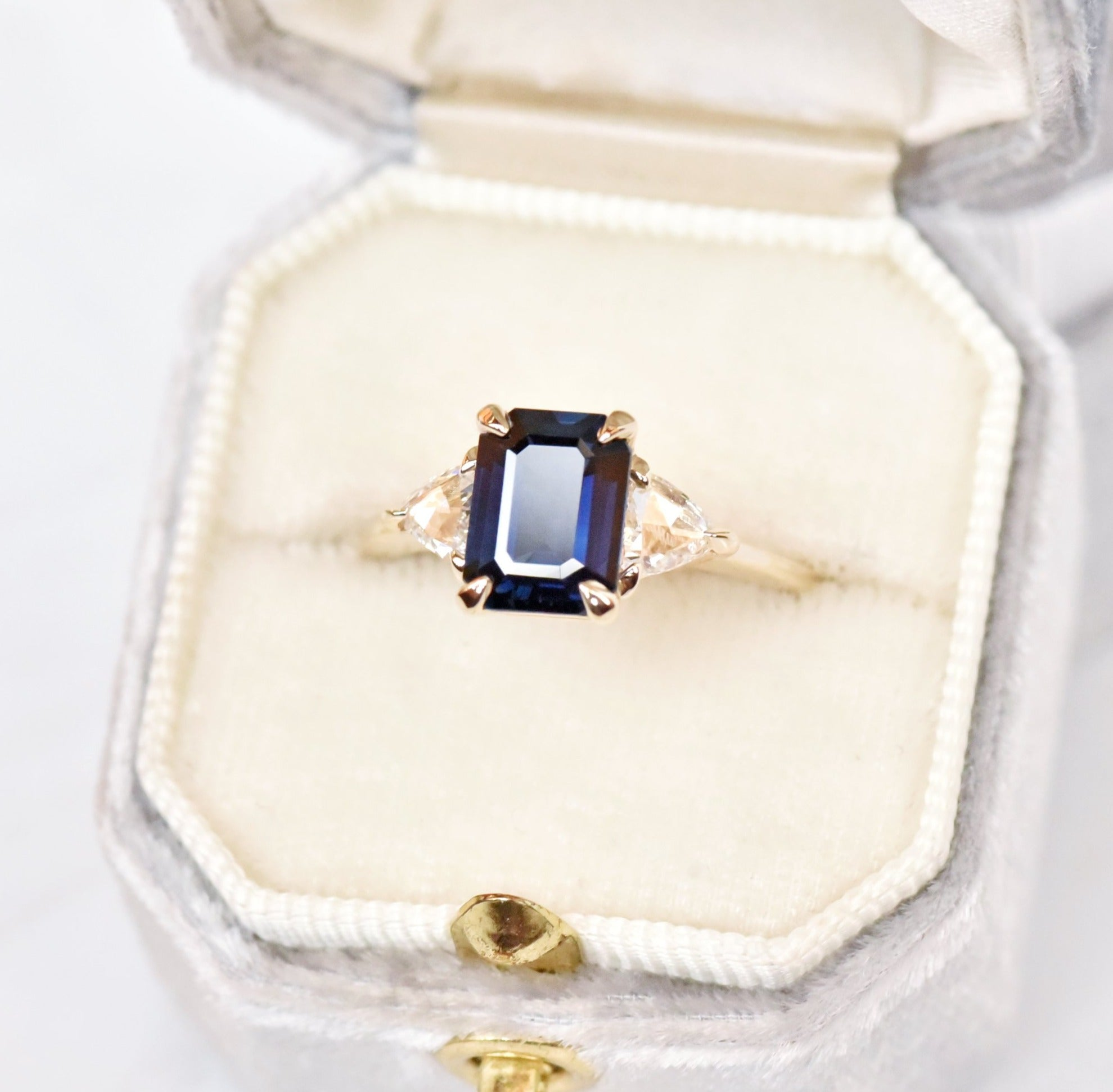 1.9ct Zara Blue Sapphire Three Stone Diamond Engagement Ring