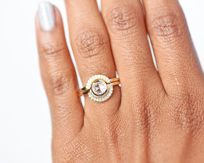 Selena Rose Cut Round Diamond Semi-Halo Ring Set modeled as a stack on hand