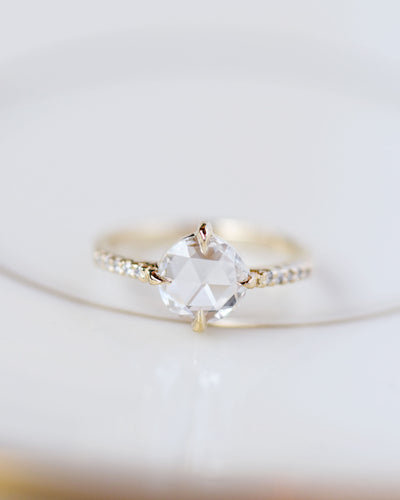 Eva Rose Cut Diamond Engagement Ring with Pavé Diamonds in natural light