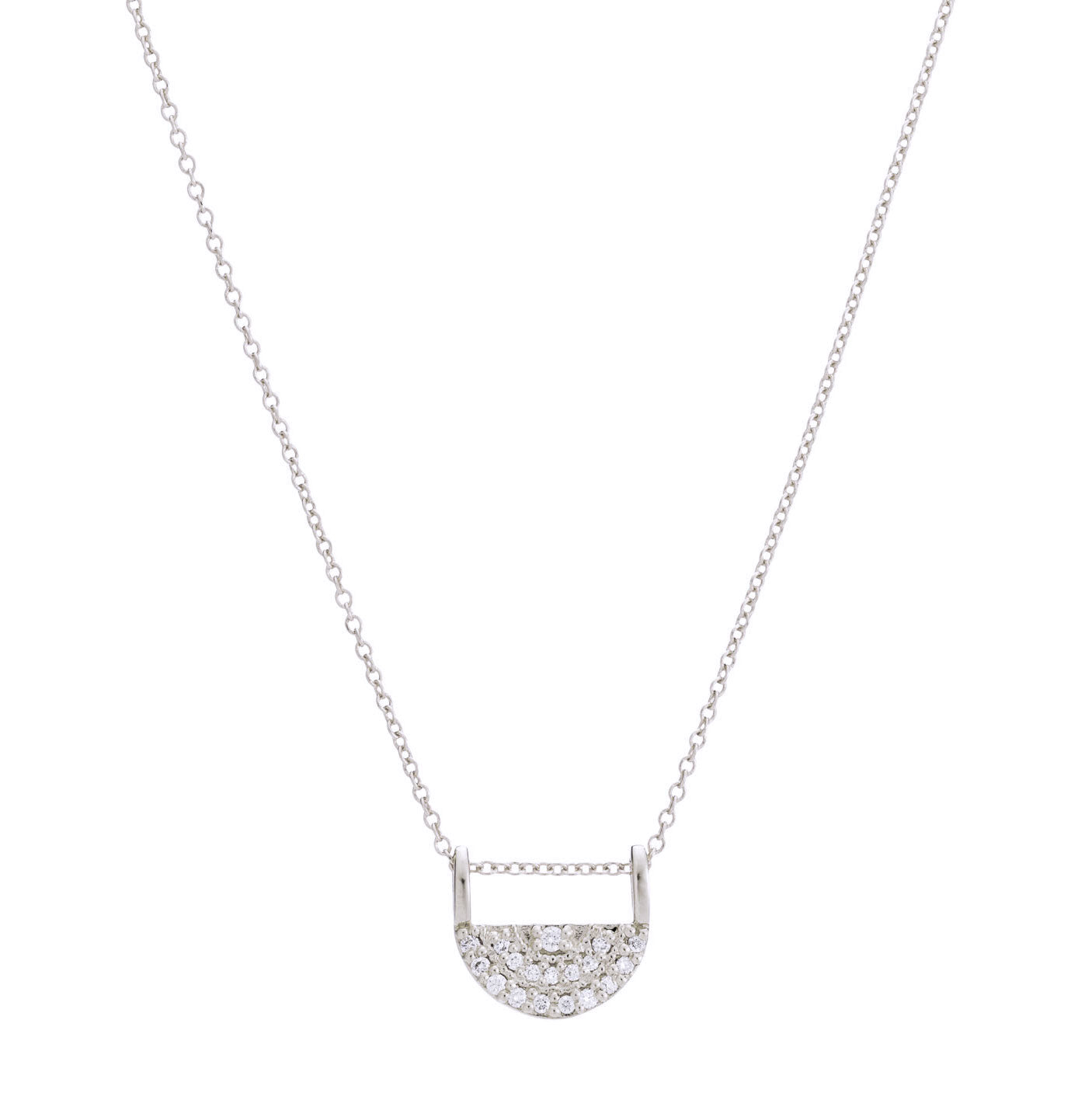Half Moon Pavé Diamond Pendant Necklace