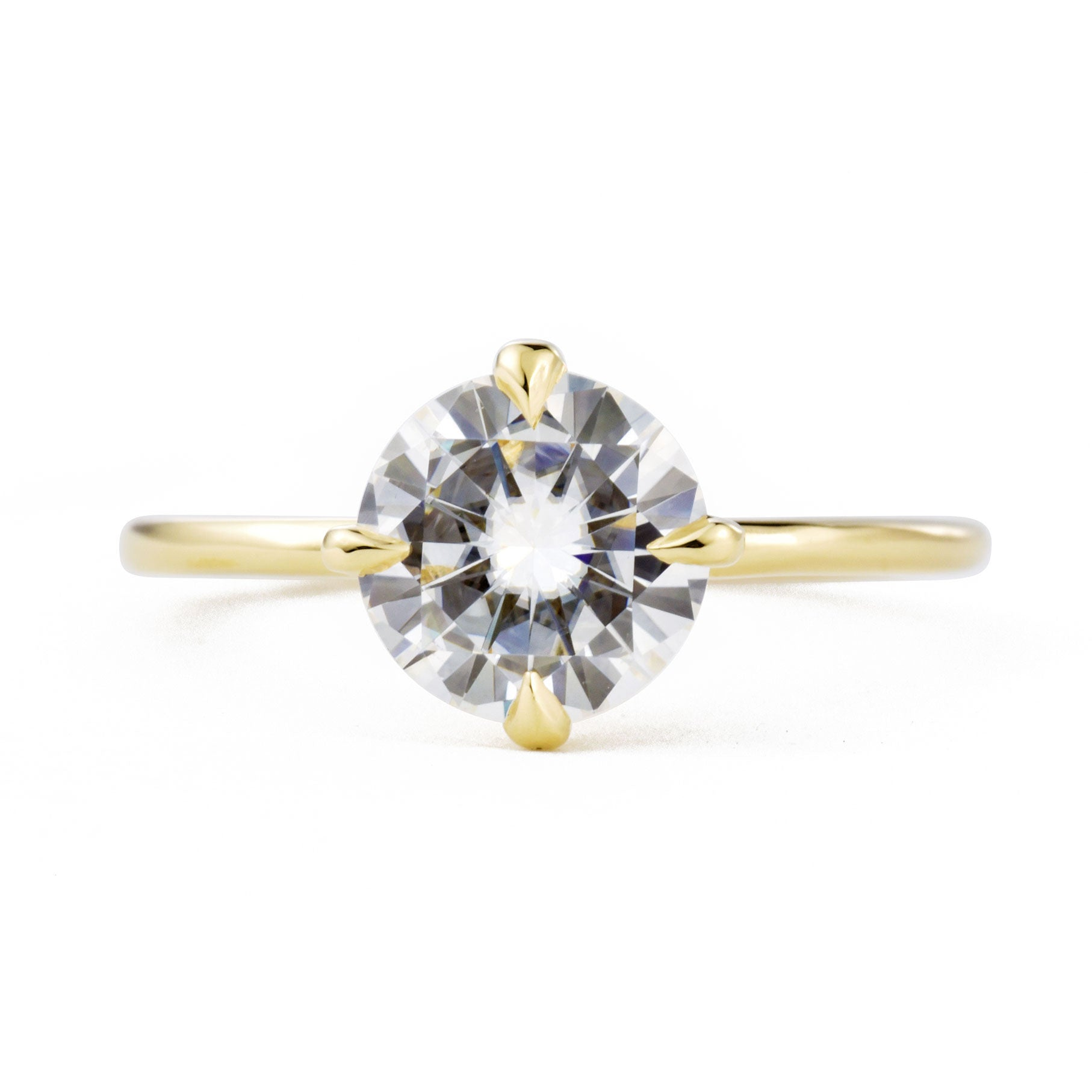 Vera 1.5ct Moissanite Solitaire Engagement Ring shown from the front in yellow gold