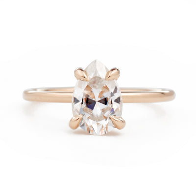 Vera Pear 1.5ct Moissanite Solitaire Engagement Ring
