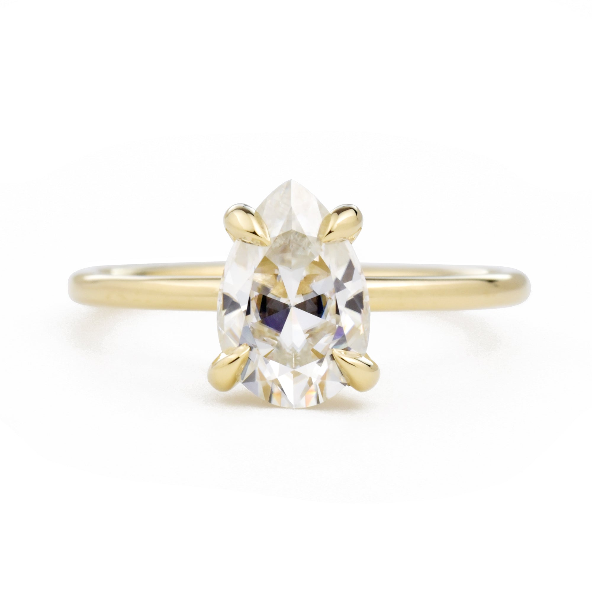 Vera Pear 1.5ct Moissanite Solitaire Engagement Ring in yellow gold