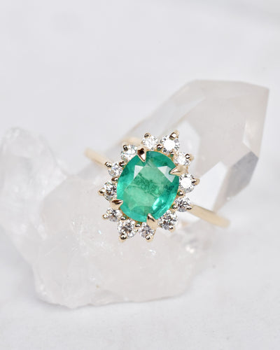 Marisol Emerald & Diamond Halo Engagement Ring