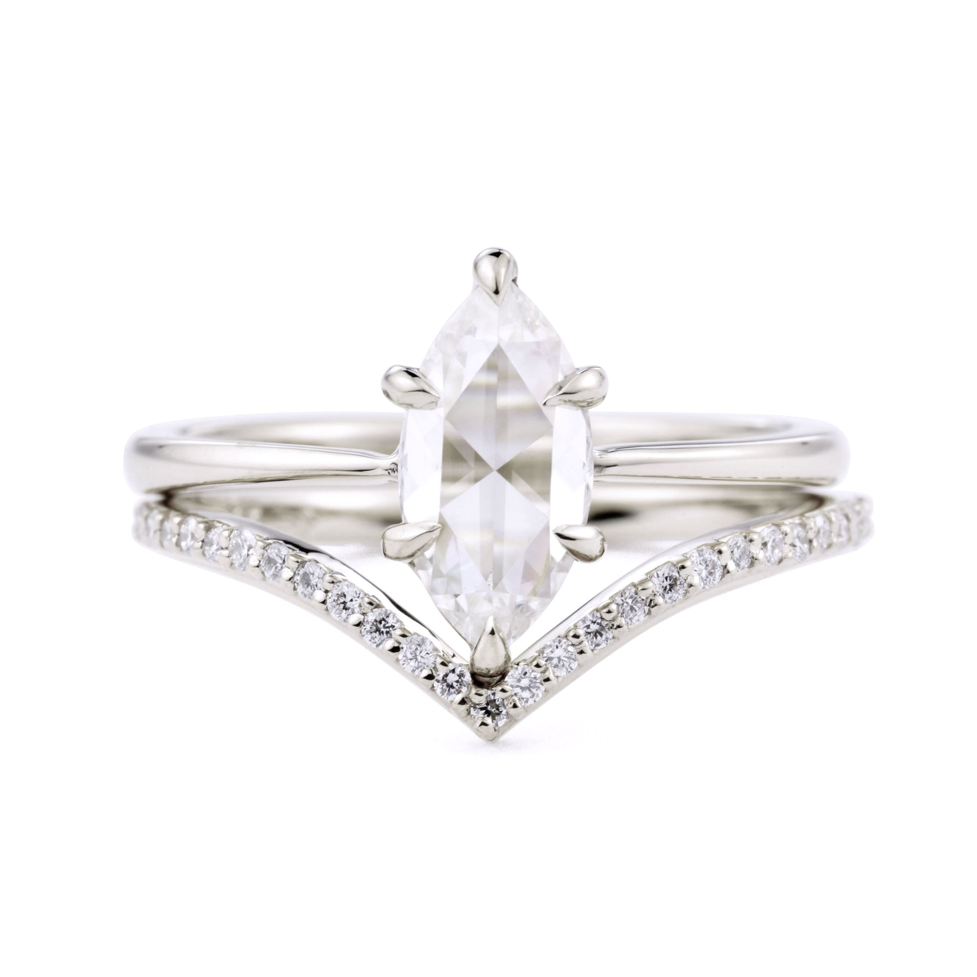 Eva Marquise Rose Cut Moissanite Ring Set