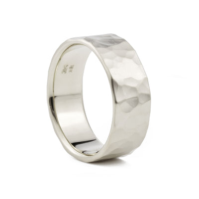 8mm Men's Hammered Wedding Band