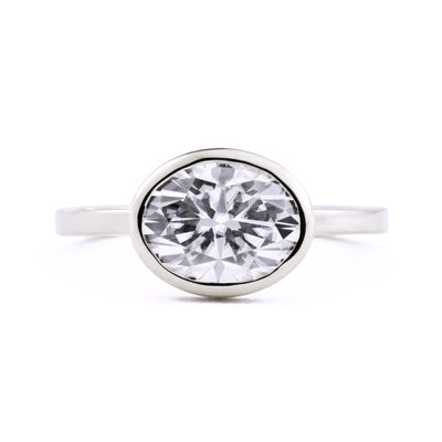 Aura East West Oval Bezel 2ct Moissanite Engagement Ring in white gold