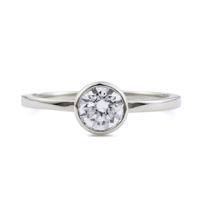 Aura Round Bezel .5ct Moissanite Engagement Ring