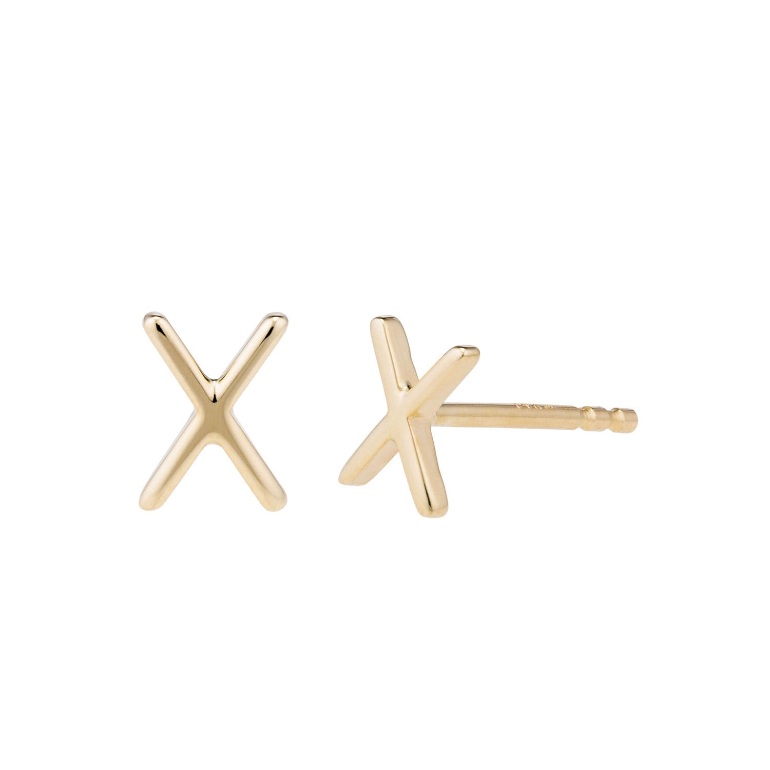 14k Yellow gold x stud earrings by Valerie Madison