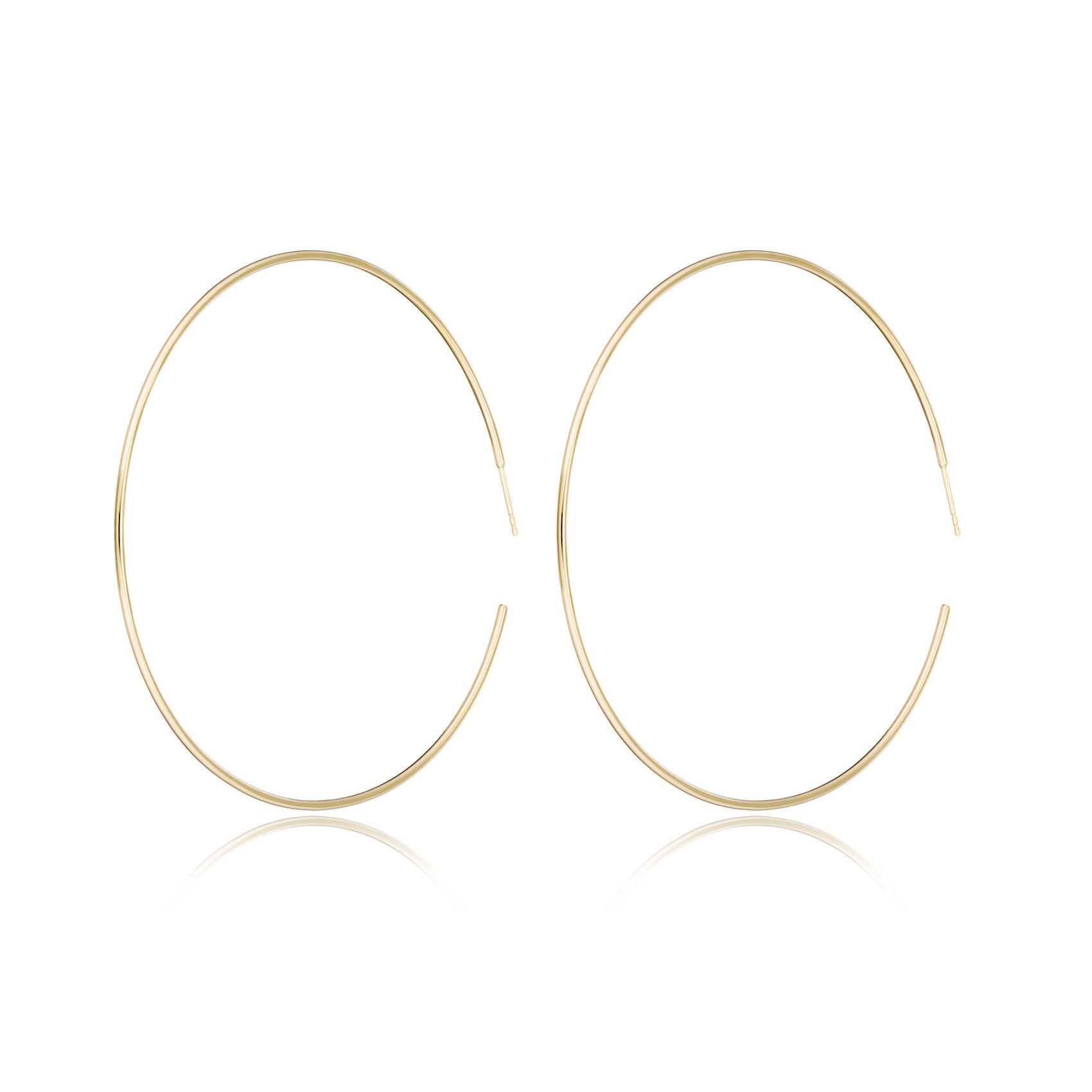 14K Yellow gold extra large two and a half inch hoops by Valerie Madison Jewelry