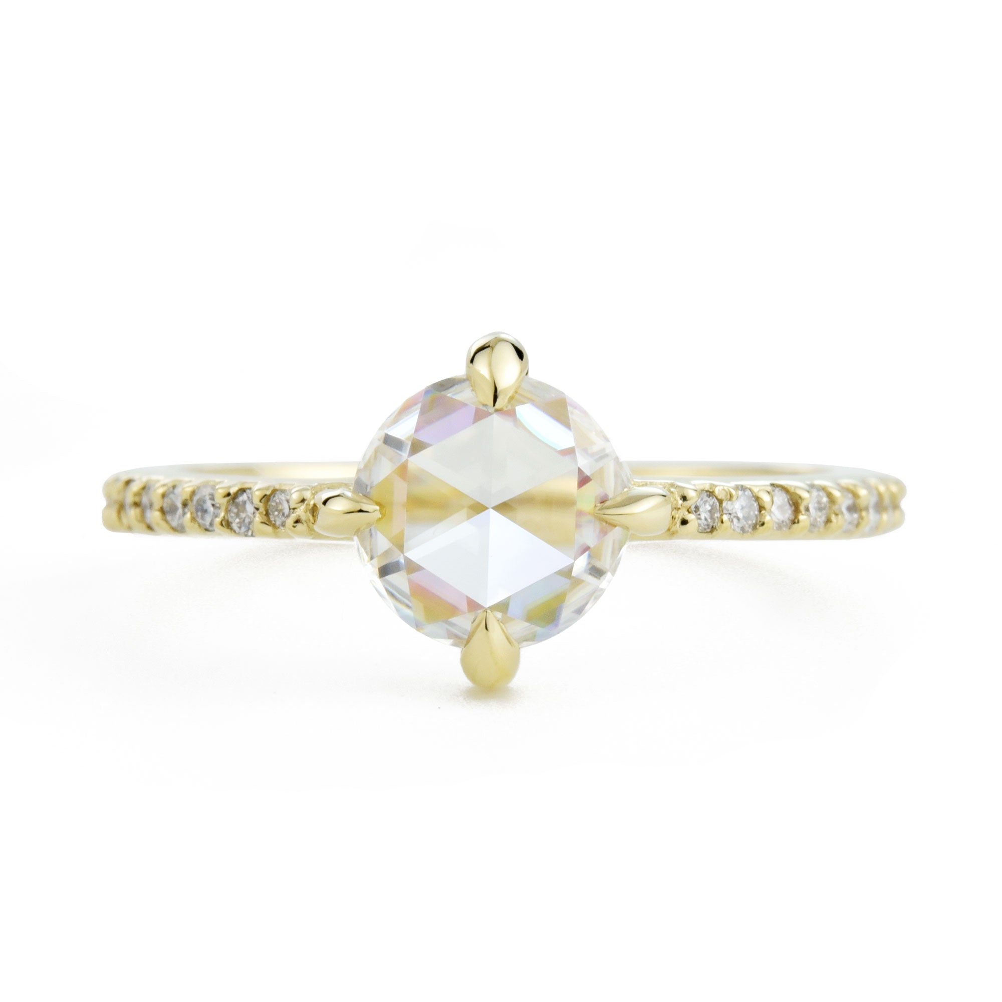 Eva Rose Cut Moissanite Engagement Ring with Pavé Diamonds in yellow gold