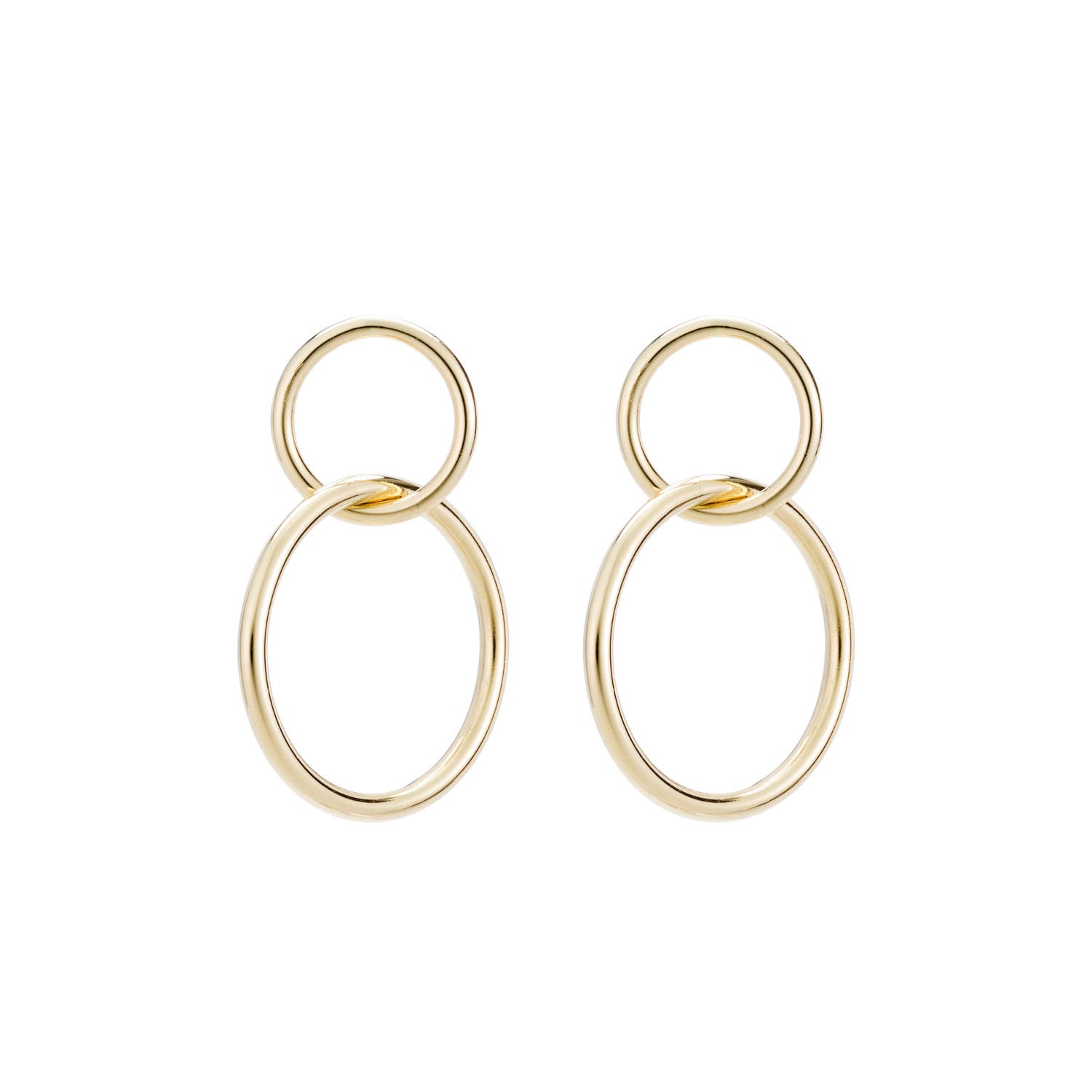 14K Gold Small Double Hoop Earrings