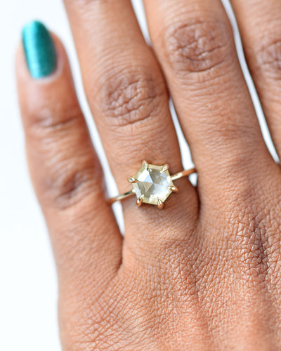 Yellow Hexagon Diamond Engagement Ring
