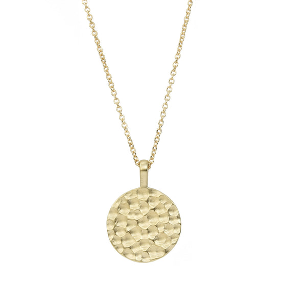 14K Gold Carved Disc Necklace