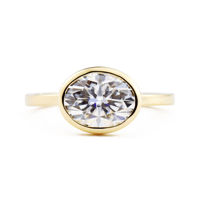 Aura East West Oval Bezel 2ct Moissanite Engagement Ring