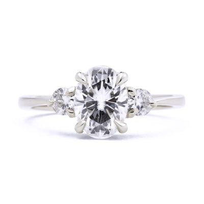 Zara Oval Three Stone Moissanite Engagement Ring in white gold