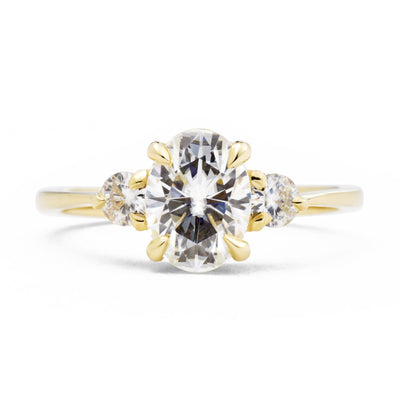 Zara Oval Three Stone Diamond Engagement Ring