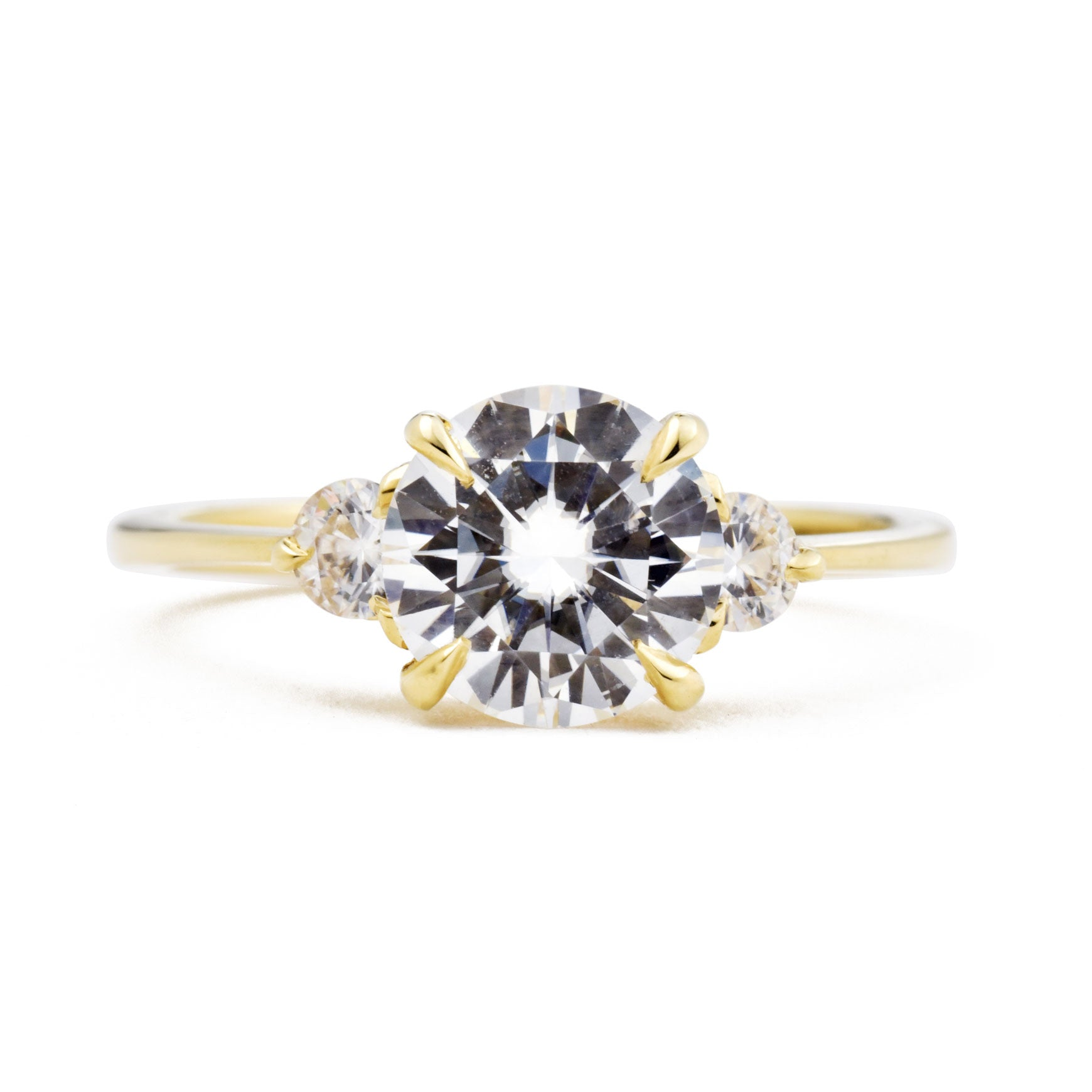 Zara Round Three Stone Moissanite Engagement Ring